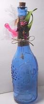 """Decorative 12""""  Blue Glass Corked Bottle Embellished / Spout Oil Vinegar... - $22.00"""