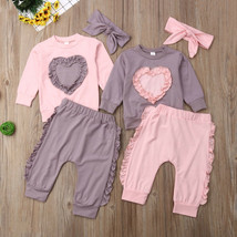Newborn Baby Girl Clothes Long Sleeve Tops Pants Love Shape Clothing Set... - $11.39