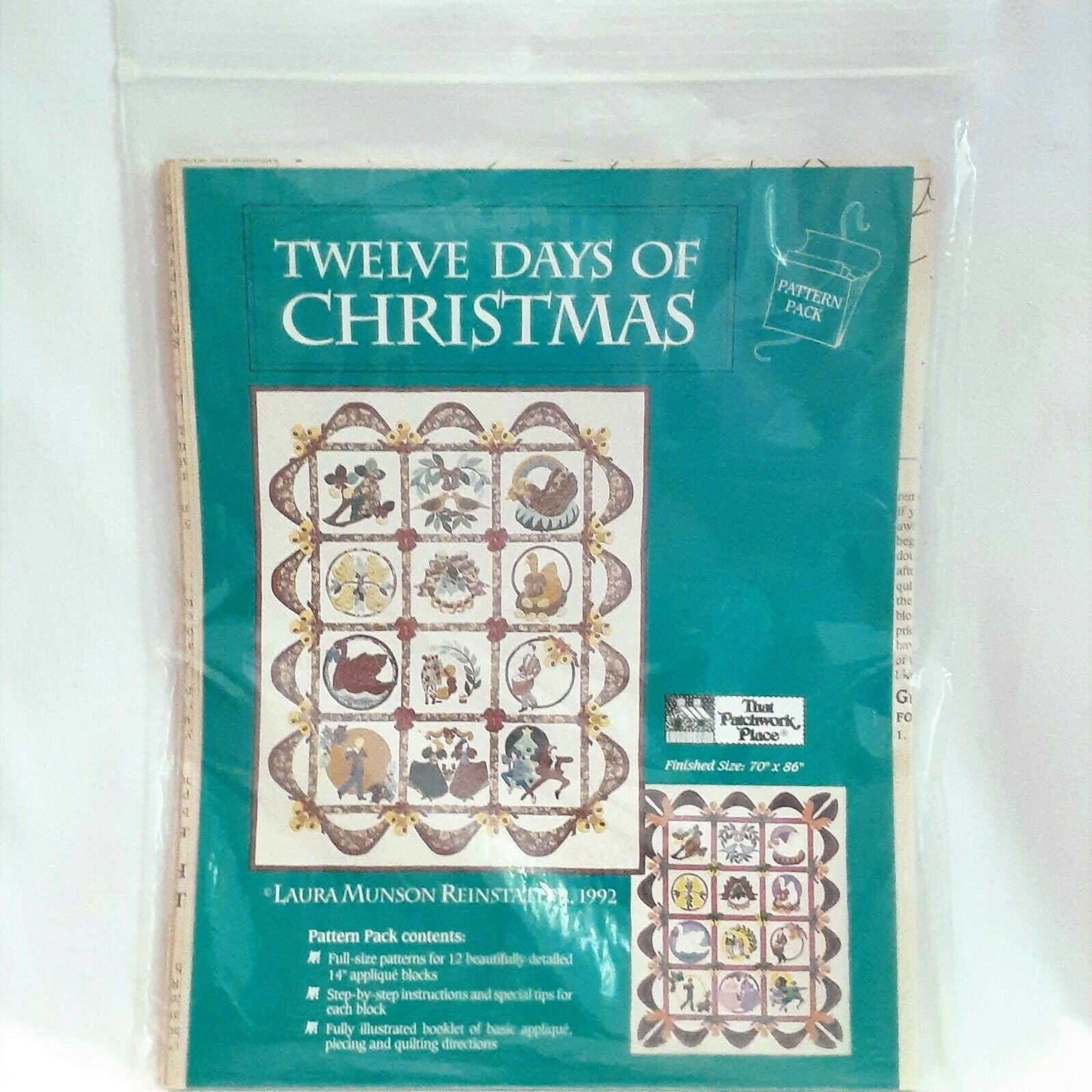 Twelve Days of Christmas Quilt Pattern Pack That Patchwork Place 70x86in 1992 - $21.29