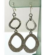 Hammered Silver Tone Oval Drop Pierced Earrings - $12.34