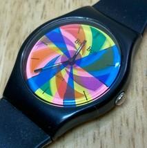 Vintage Bon Bon Men Mystery Dial Black Swiss Parts Quartz Watch Hour~New... - $47.49