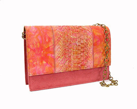 Monzo & Franco Shoulder Bag Coral Pink Suede Snakeskin Convertible Clutch - £41.43 GBP