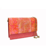 Monzo & Franco Shoulder Bag Coral Pink Suede Snakeskin Convertible Clutch - £42.50 GBP
