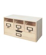 Natural Wood Desktop Office Organizer Drawers Craft Supplies Storage Cab... - $35.63