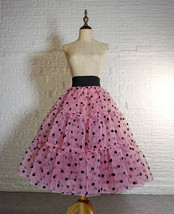 Pink Polka-Dot Puffy Tutu Skirt Outfit A-line Layered Plus Size Puffy Midi Skirt image 10