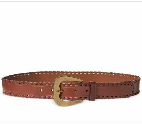 New Lauren Ralph Lauren Whipstitched Belt Brown Womens Size Large L