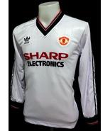 MANCHESTER UNITED 1983 AWAY WHITE ELE L/S RETRO FOOTBALL SHIRT - $45.00