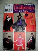 Halloween Simplicity Pattern Kids Costumes Clown Vampire Witch Warlock C... - $12.86
