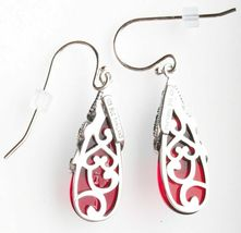 New Amazon Collection Sterling Silver 925 Marcasite Red Glass Teardrop Earrings image 3