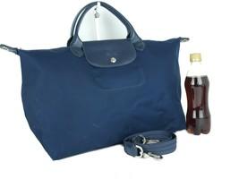 Authentic LONGCHAMP Navy Nylon Canvas Two Way Shoulder Bag Hand Bag Purs... - $127.71
