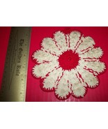 Home Treasure Linen Table Decor Circular Doily Circle Doillie Red Center... - $9.97