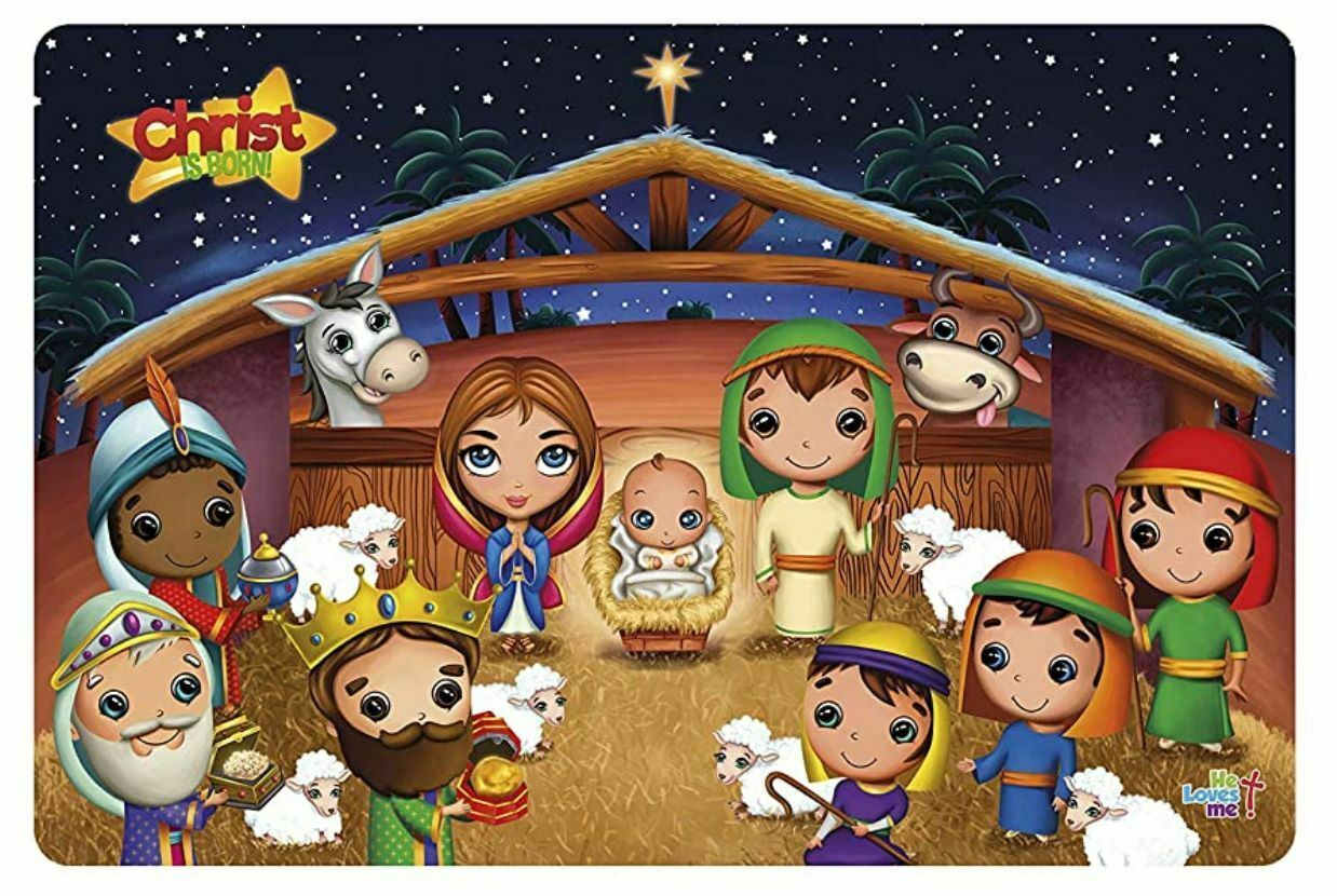 Primary image for Christ Is Born Kids Placemat NEW BPA-Free Washable Reusable Flexible Plastic