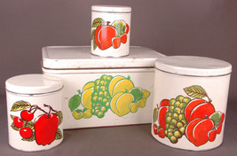 Vtg Decoware (4) Tins Metal Nesting Stacking Kitchen Canisters Fruit Design - $33.65