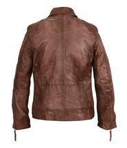 Mens Cafe Racer Vintage Biker Zip Up Motorcycle Brown Distressed Leather Jacket image 4