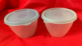Vintage Tupperware Sheer Storage Bowls  #148...Set Of 2...W/ Lt Blue Lid... - $9.89