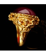 Victorian Cherub Ring - vintage signed estate jewelry - cubid cabochon r... - $125.00