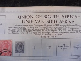 M25 Lot of 5 Union of South Africa Minkus Pages 1910-1961 w/ 65 hinged s... - $13.54