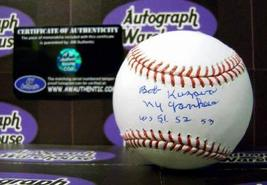 "Bob Kuzava autographed Baseball inscribed ""NY Yankees 51 52 53"" - $79.00"