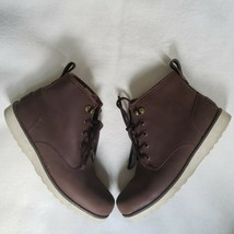 UGG Kids Boots Size 5 Suede Lace up Sheepskin Maple Brown Boys Girls - $32.73