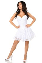 Lavish White Lace Overbust Strapless Short Corset Dress ~ Plus Sizes Too - $99.00