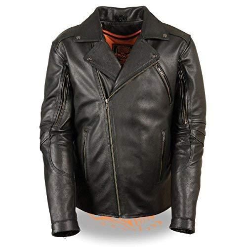 Primary image for Milwaukee Leather Mens Triple Stitch Extra Long Beltless Black Leather Jacket w