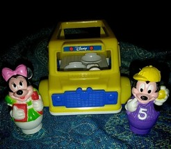 Vintage DISNEY MICKEYTOWN SCHOOL BUS ARCO with Mickey & Minnie Mouse Fig... - $13.85
