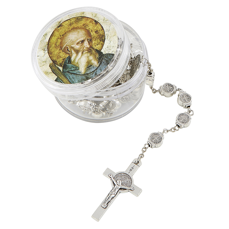 St. benedict medals rosary with case g1655