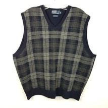 Polo Ralph Lauren Wool Sweater Vest XL Extra Large Blue Gray V Neck VINTAGE - $27.81