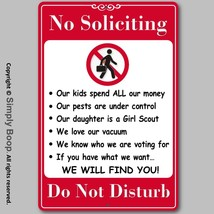"""No Soliciting Do Not Disturb Home Security Sign Aluminum Brand New 8""""x12... - $15.83"""