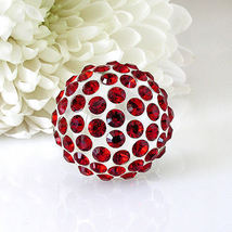 New Clear Acrylic Domed Ring Numerous Red Swarovski Elements Crystal On Dome image 3