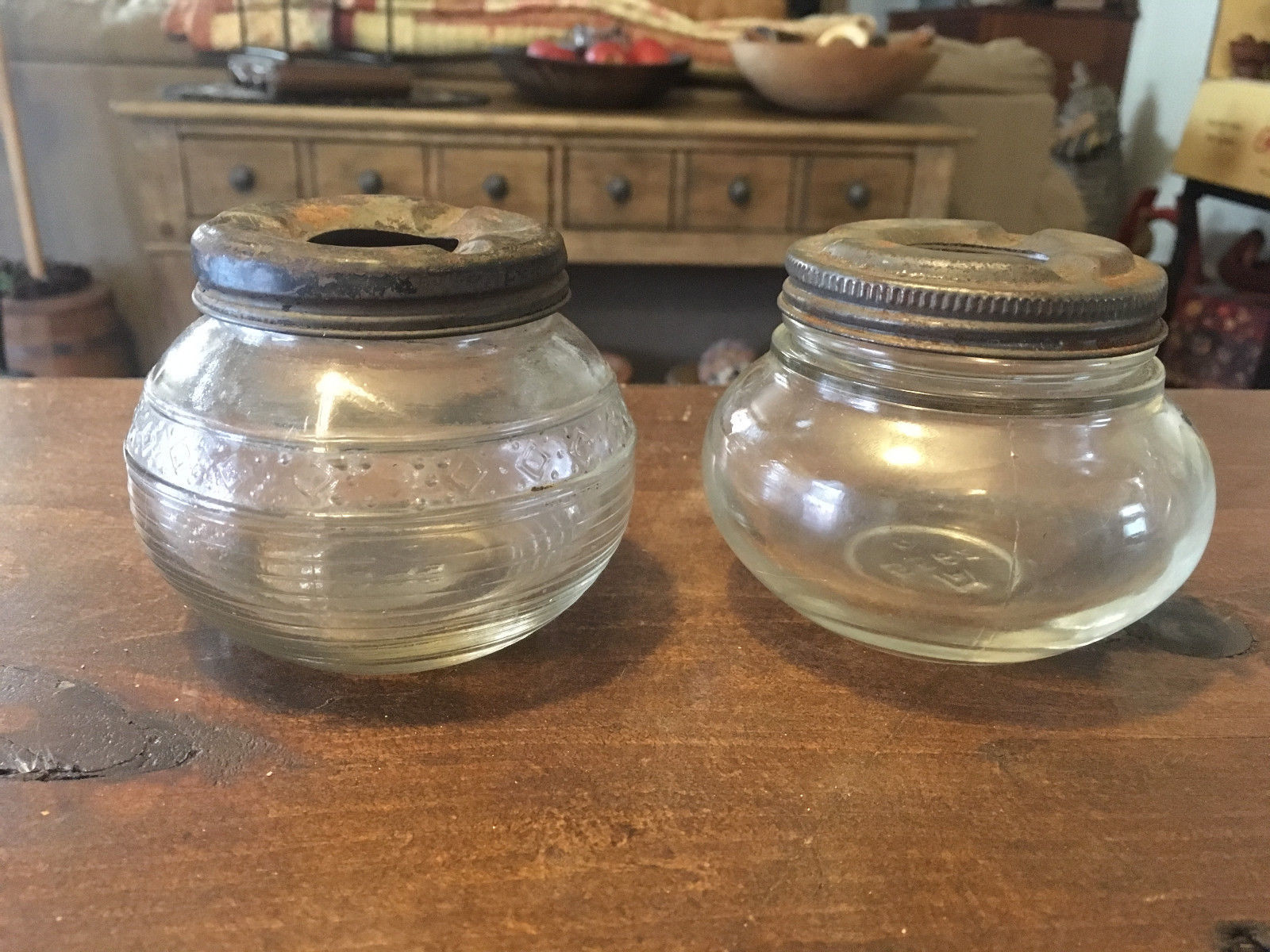 A Pair (2) of RARE Vintage Clear Glass Jar Ashtrays Made by Anchor Hocking