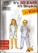 UNCUT Vtg 1998 Simplicity #8490 EASY PAJAMAS For KIDS, Sz 3-8 - $10.99