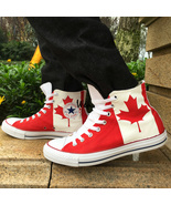Converse All Star Canada Flag Custom Hand Painted Canvas Shoes Unisex Sn... - $145.00