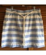 Bob Timberlake Linen Skirt Large Blue White Stripe Drawstring Waist Pockets - $26.07