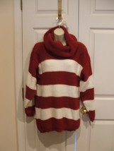 New In Pkg Styles To Go Burgundy Stripe Cowl Neck Tunic Sweater Size Small - $13.36