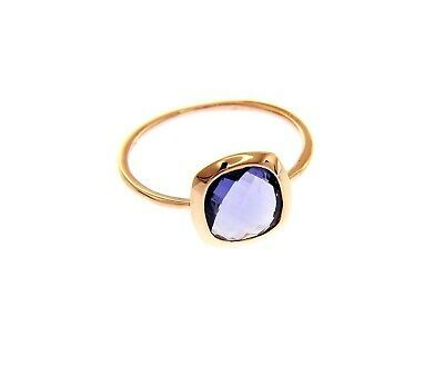 18K ROSE GOLD RING, SOLITAIRE WITH CENTRAL PURPLE SQUARE CRYSTAL CUSHION CUT