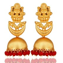 18K Gold Plated Sterling Silver Temple Jewelry Jhumka Earring with Coral - $138.60
