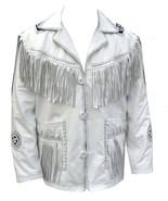 QASTAN Men's New White Western Suede Cow Leather Jacket Fringes FJ12D - $122.60+