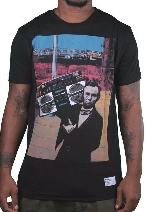 Bench Urbanwear Mens Black Streets Beats Lincoln Boombox Radio T-Shirt BMGA3114