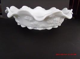 "12"" Paneled Grape Milk Glass Lipped Round Fancy Bowl Westmoreland Nice - $20.00"