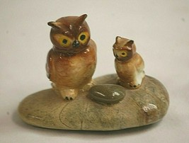 Classic Style Two Owl Figurines on Rock Shadow Box Shelf Decor - $9.89