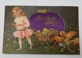 Easter Postcard Embossed Diecut Silk Embellished Egg Paul Finkenrath Germany C2 - $21.95