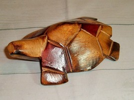 Vintage Turtle Wood Hand Carved Carving Stained Figurine  - $17.09