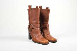 Michael Kors Cognac Brown Leather Square Toe Harness High Heel Boots SZ 7.5 - $135.00