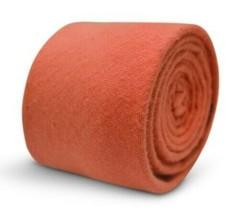 Frederick Thomas Designer Wool Mens Tie - Coral Orange - Plain Skinny We... - $15.89