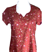 Red Tunic Pink Embroidered Flowers Piped In Pink Short Sleeve V Neck US ... - $46.78