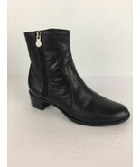 Munro Womens Linda Ankle Boot 7 M Black Leather Zip Block Heel Comfort M... - $98.99