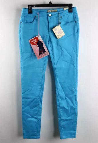Hybrid & Company Bright Aqua Blue Low-Rise Bum Lifter Skinny Leg Pants Sz5