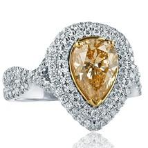 2.54 TCW Yellow Pear Diamond Engagement Ring Infinity 14k White Gold - $3,959.01