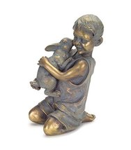Statue of Boy Hugging Kissing Rabbit Best Friend